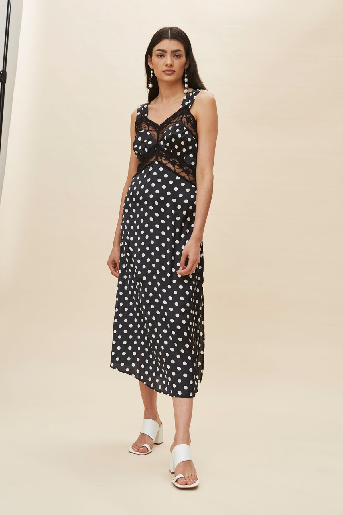 Polka Dot Lace Satin Slip Dress