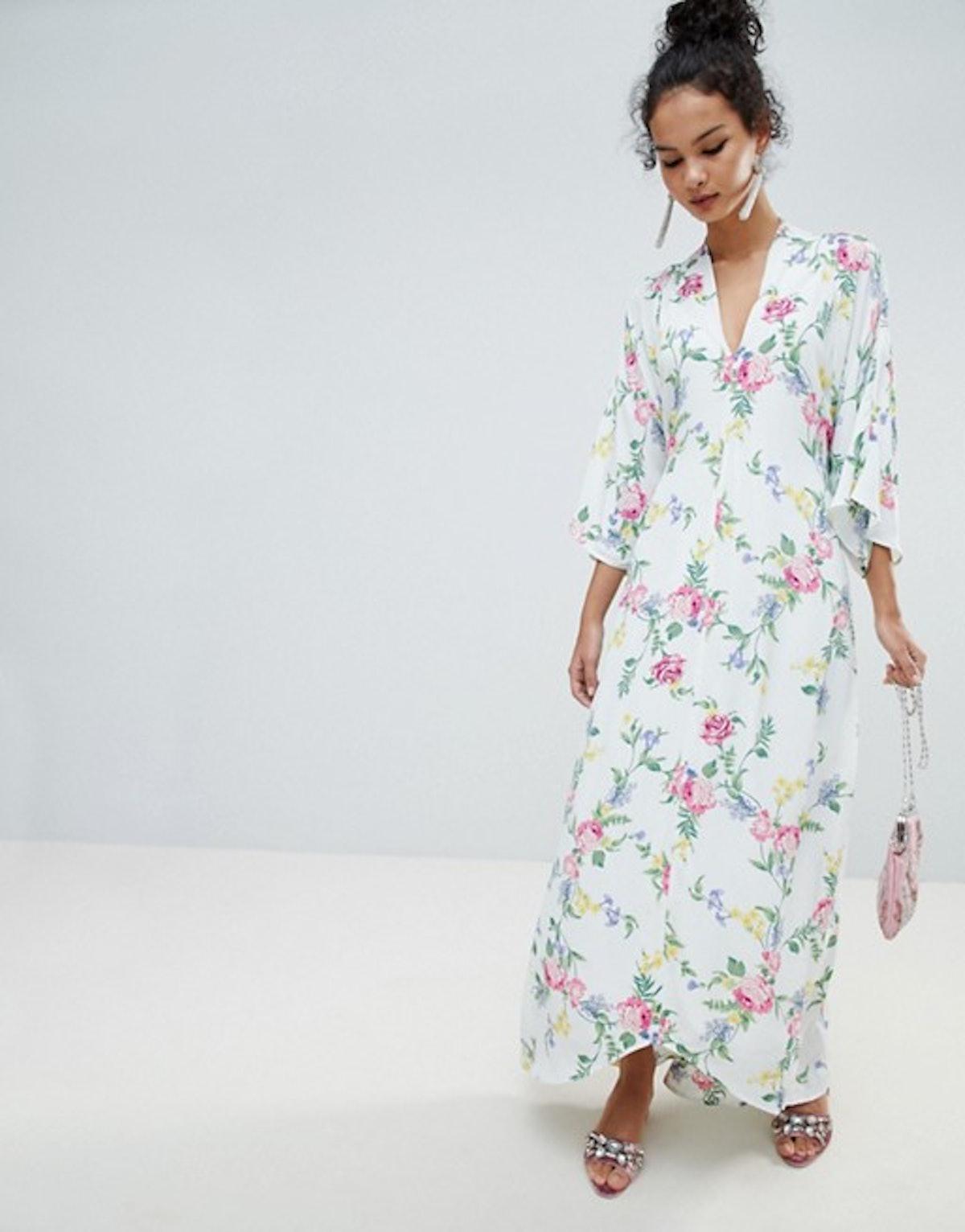 Miss Selfridge Kimono Sleeve Floral Tie Back Maxi Dress
