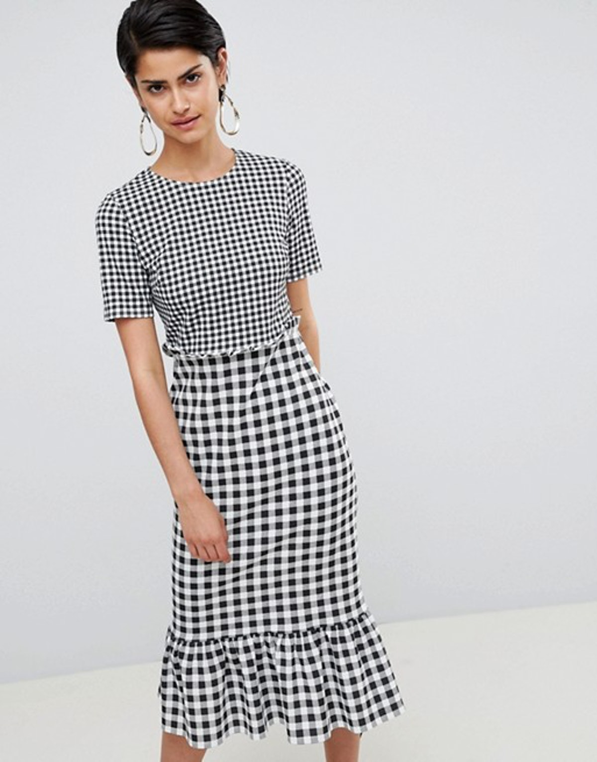 ASOS DESIGN midi dress with pep hem in contrast check