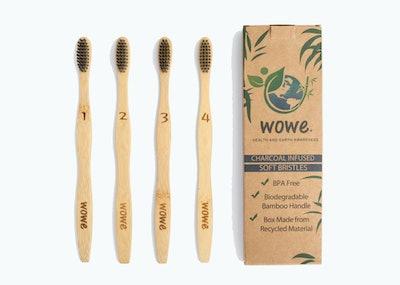 Wowe Organic Natural Bamboo Toothbrush (4-Pack)