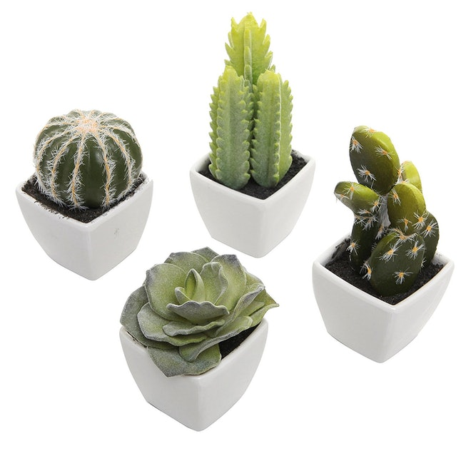 This set of faux cacti includes miniature versions of a rose succulent, a prickly pear cactus, a ball cactus, and a fairy castle cactus. You don't have to go searching for all your favorites when they all come together in one set.