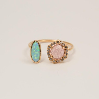Opal & Pink Lady Hugging Ring
