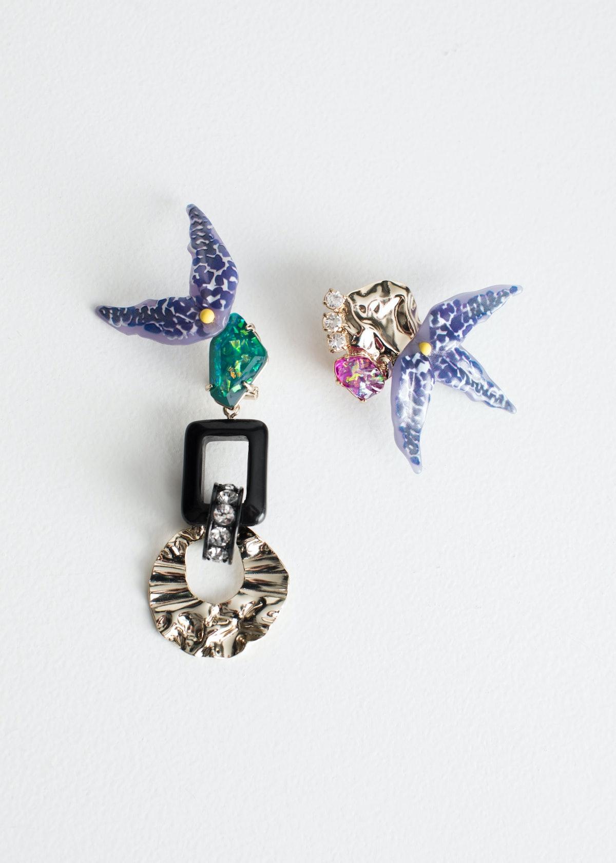Tropical Flower Asymmetrical Earrings