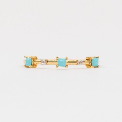 Square Stone Stacking Ring With Diamond & Turquoise