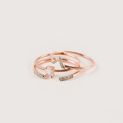 Diamond & Moonstone Stacking Ring Set