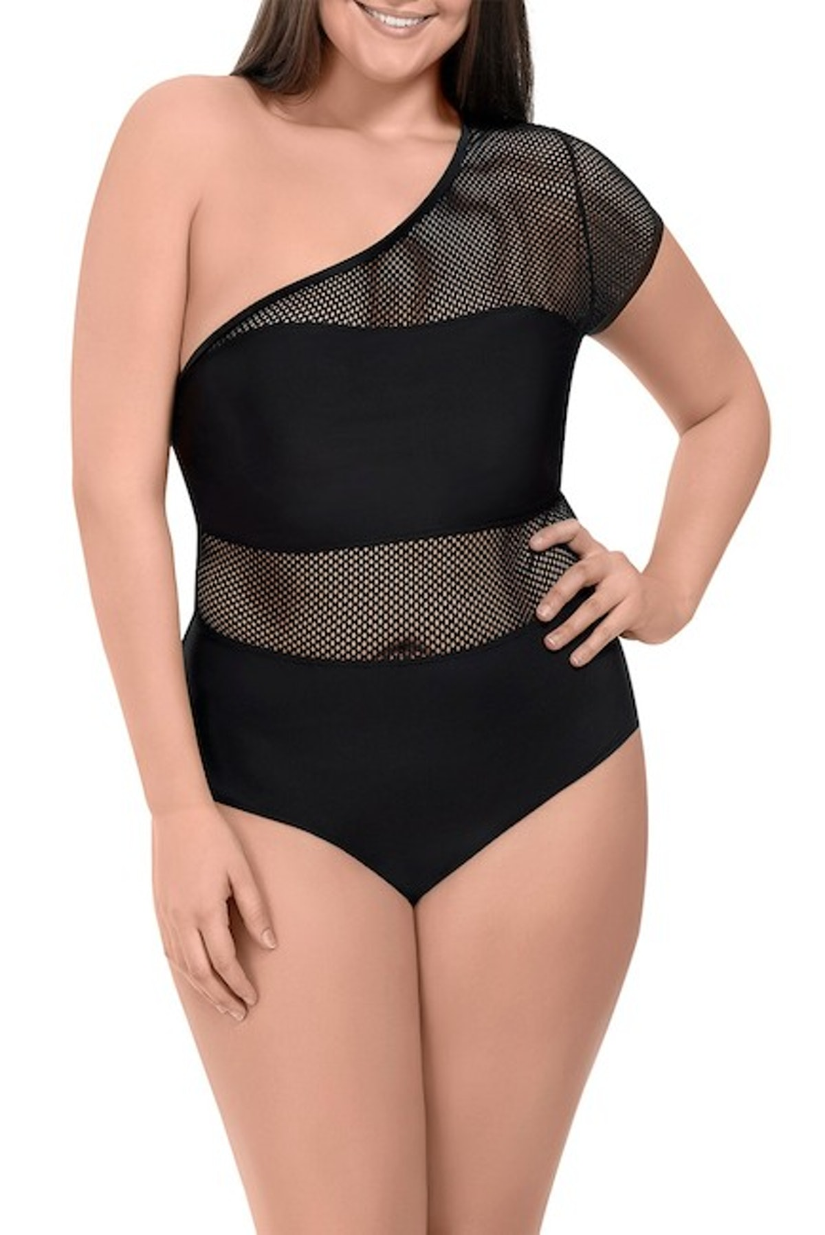 Paramour Mesh One Shoulder One-Piece Swimsuit (Plus Size)