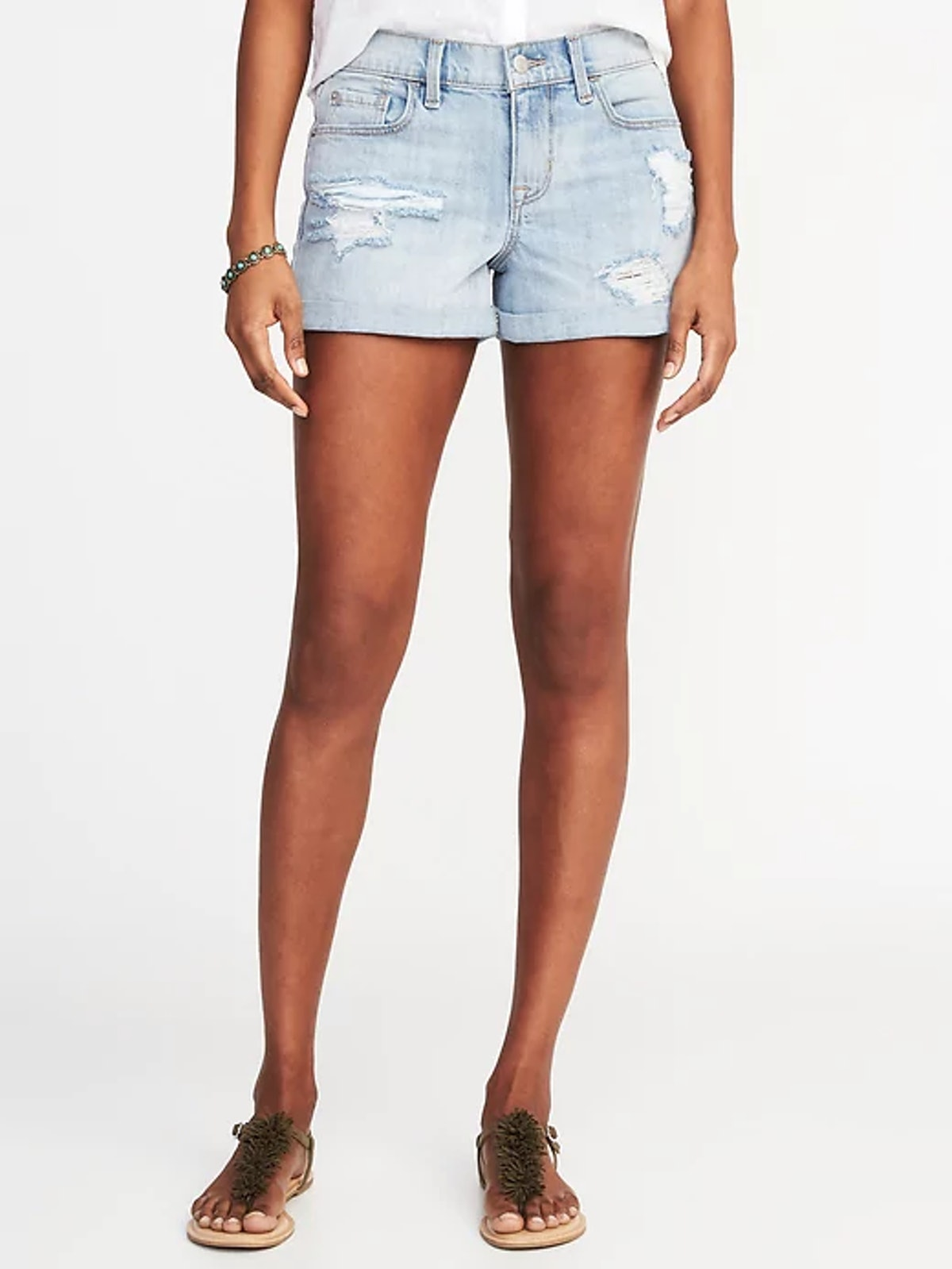 Boyfriend Distressed Denim Shorts for Women