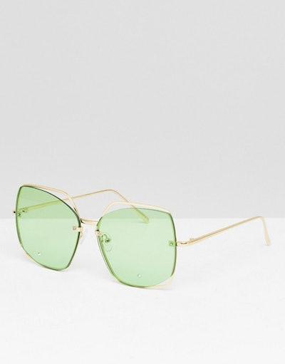 ASOS DESIGN Oversized Metal Square Sunglasses With Cut Away Detail & Diamonte
