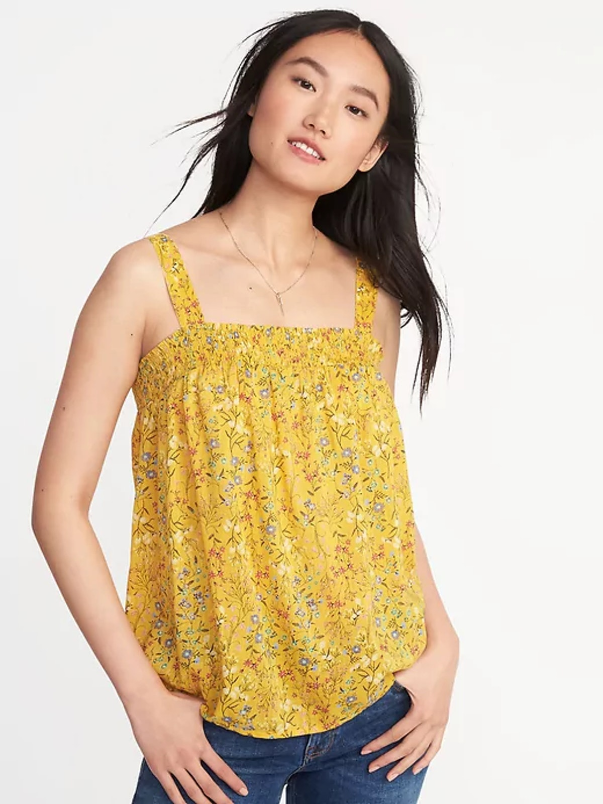 Smocked Floral Swing Top for Women
