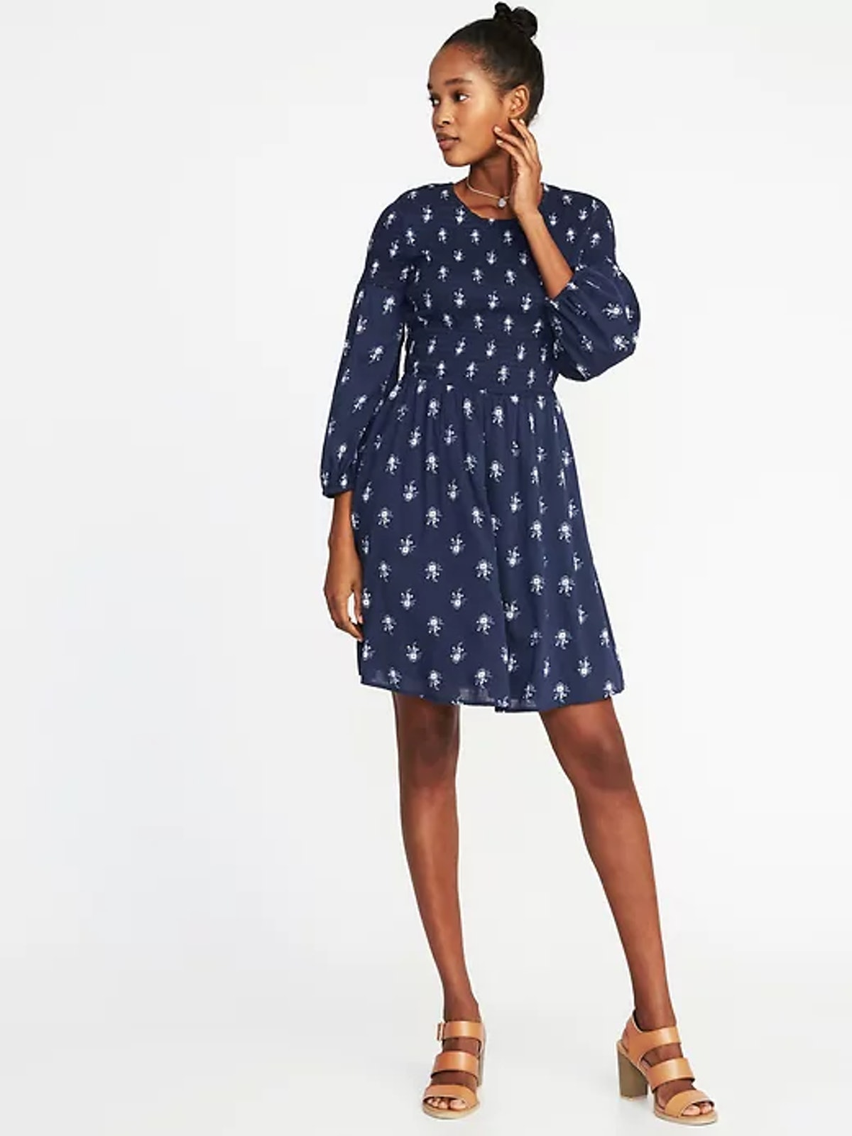 Fit & Flare Smocked-Bodice Dress for Women