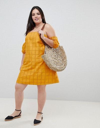 ASOS DESIGN Curve Ultimate Broderie Puff Ball Off Shoulder Mini Sundress