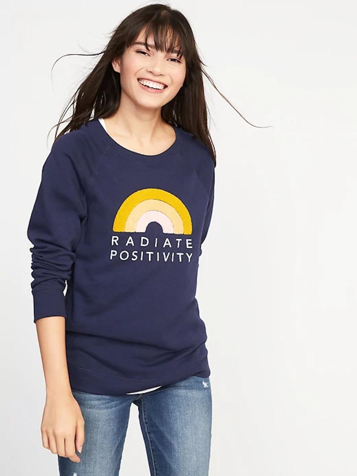 Relaxed Graphic Crew-Neck Sweatshirt for Women