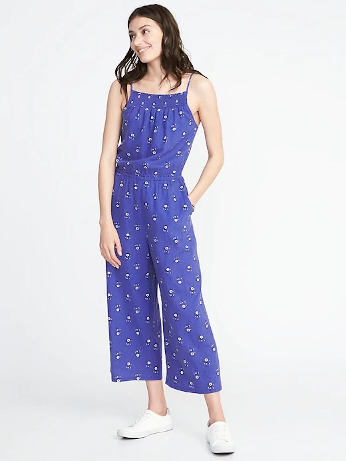 Waist-Defined Sleeveless Linen-Blend Jumpsuit for Women