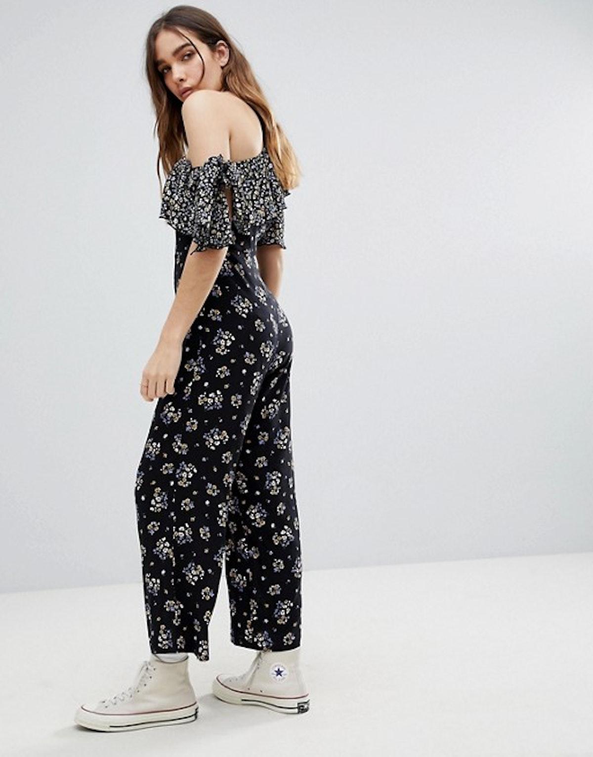 Reclaimed Vintage Inspired Floral One Shoulder Jumpsuit