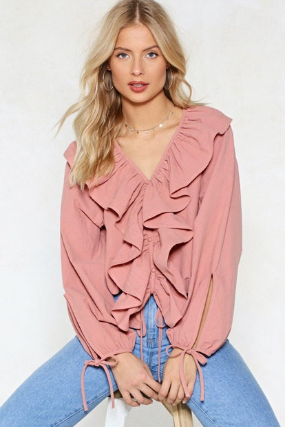 Pink Positive Ruffle Top