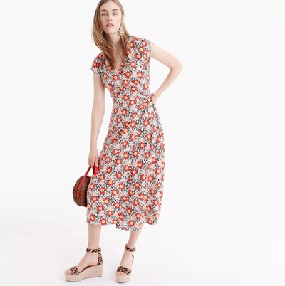 Easy Wrap Seventies Floral Dress