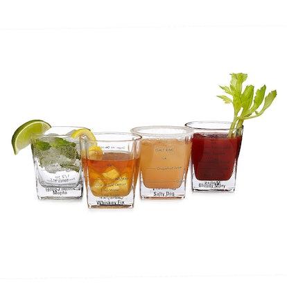 Cocktail Recipe Glasses - Set of 4