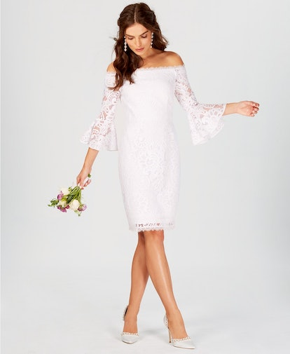 Adrianna Papell Off-The-Shoulder Lace Bell-Sleeve Dress