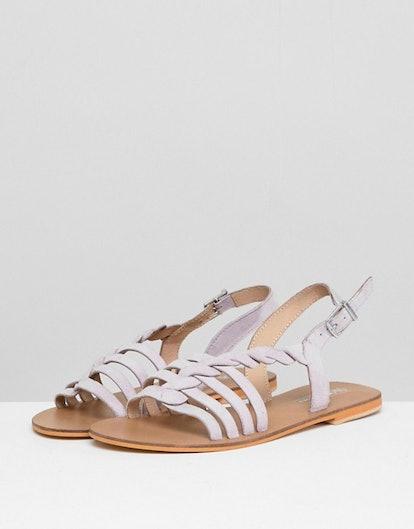 ASOS DESIGN Flattered Suede Plaited T-Bar Flat Sandals