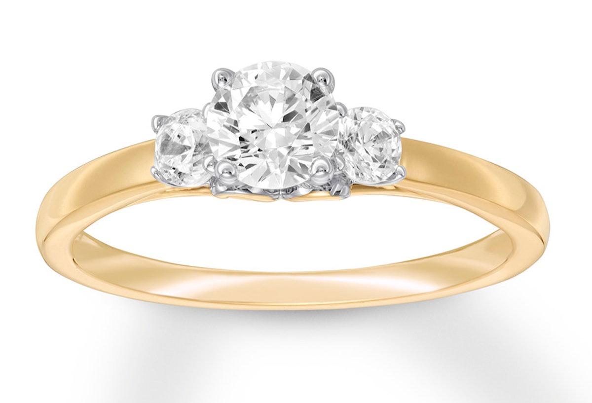 Three-Stone Diamond Ring 14K Yellow Gold
