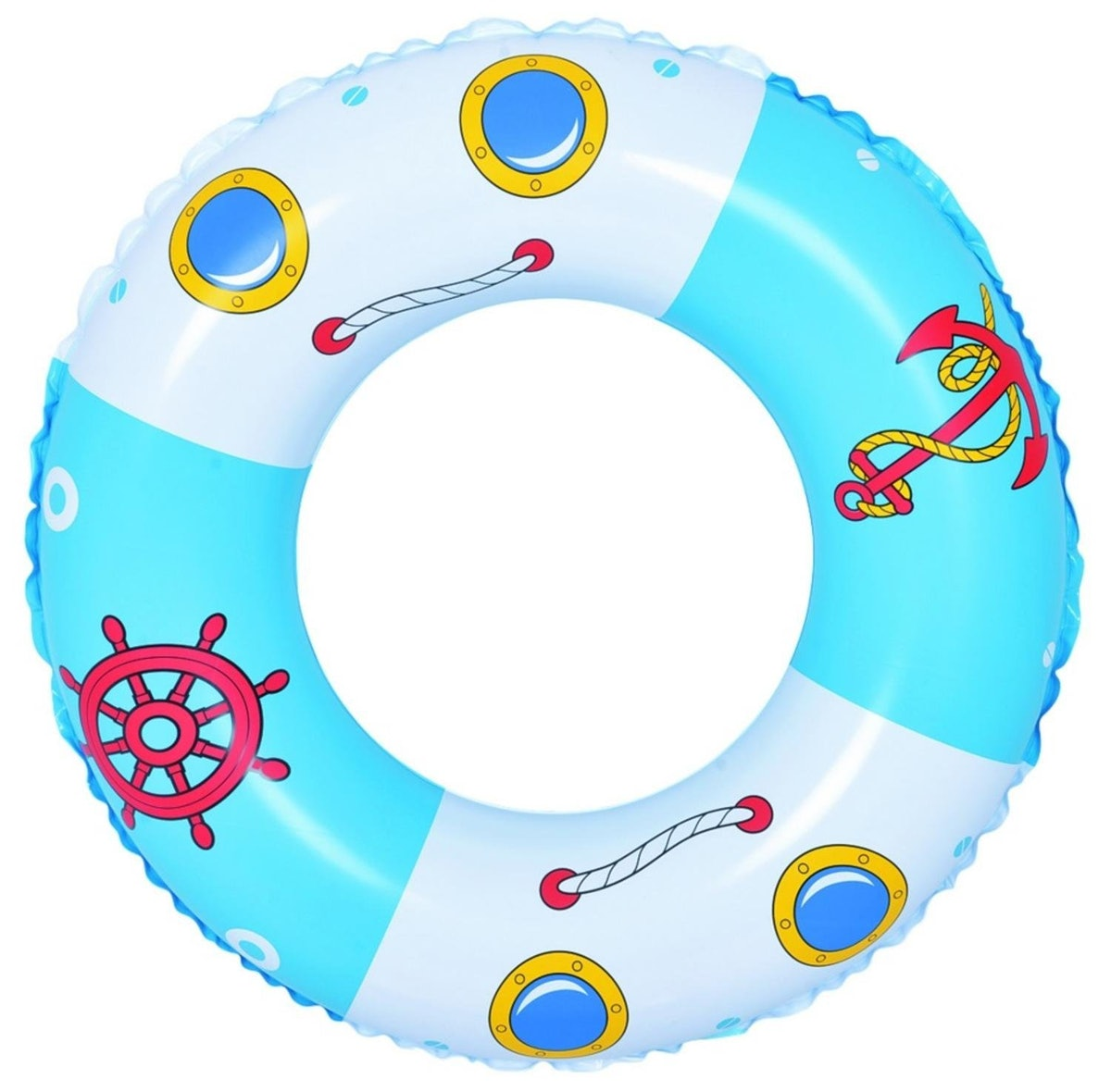 Blue and White Boat and Anchor Inflatable Swimming Pool Inner Tube Ring Float
