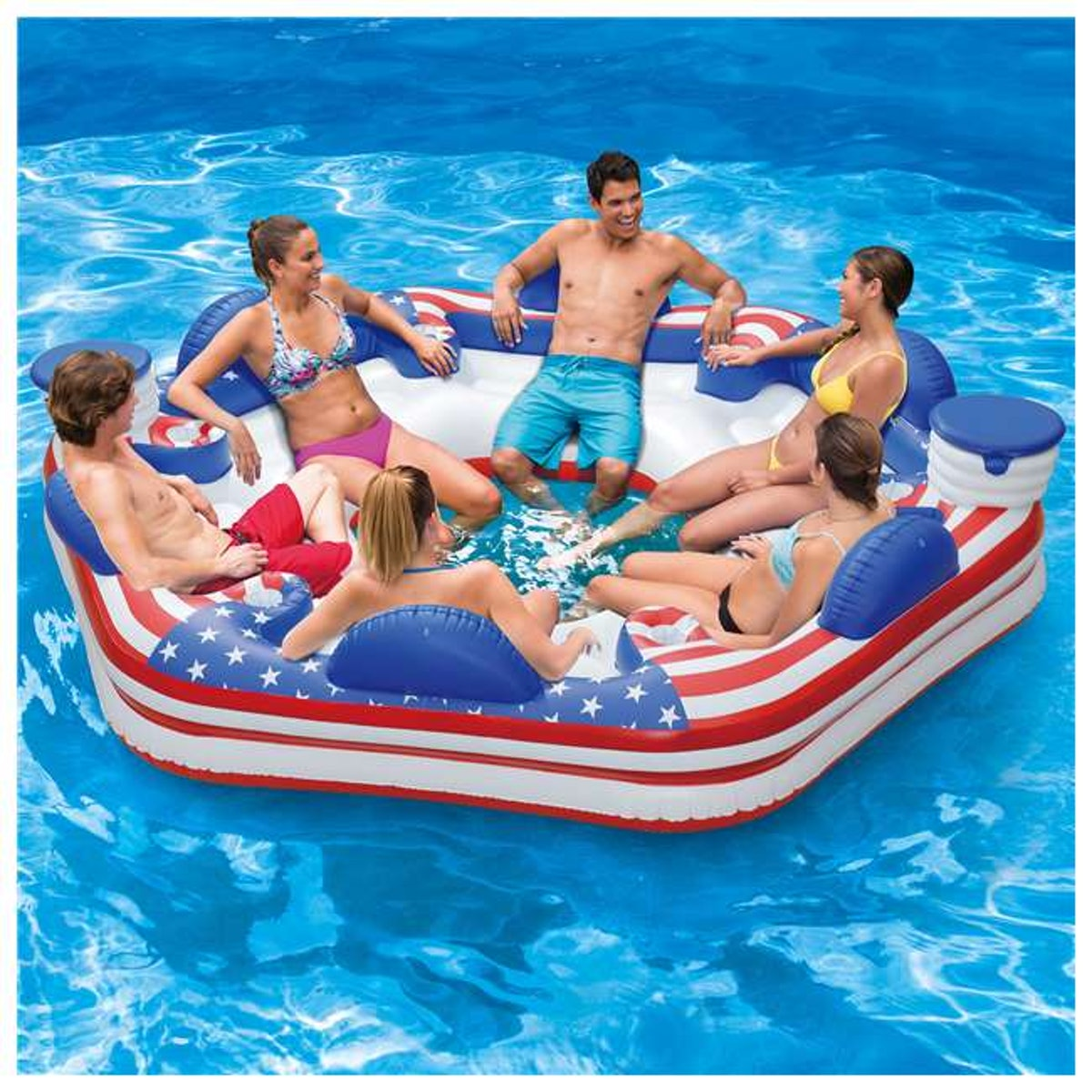 Summer Waves Inflatable Americana 6-Person Island Lounge Lake Float