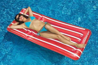 Transparent Red and White Stripe Inflatable Swimming Pool Mattress Float