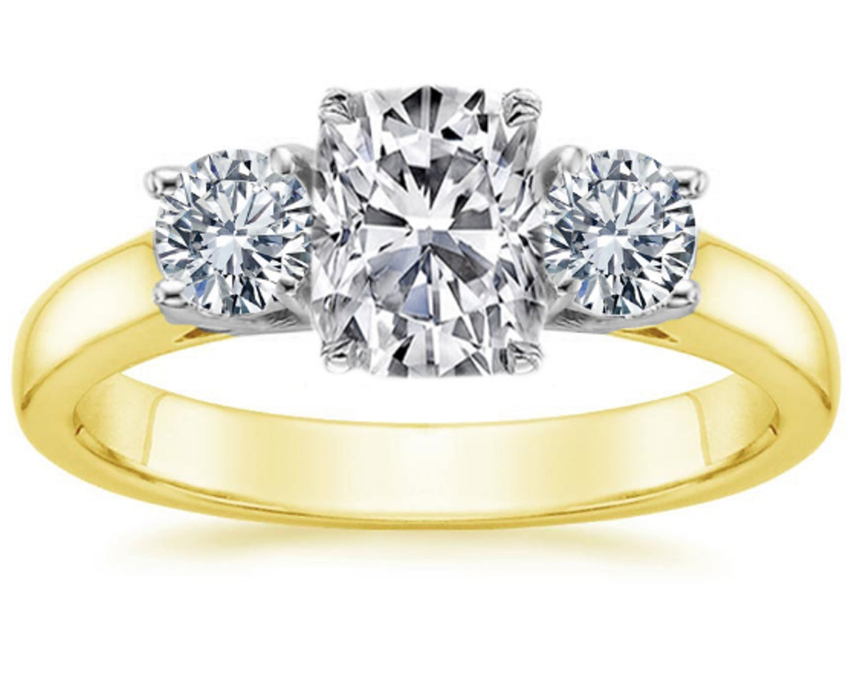 Three Stone Two Tone Diamond Engagement Ring