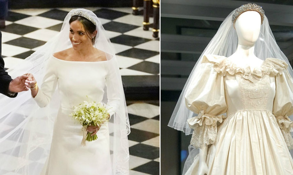 Meghan Markle S Wedding Dress Vs Princess Diana Here How The Two Stack Up