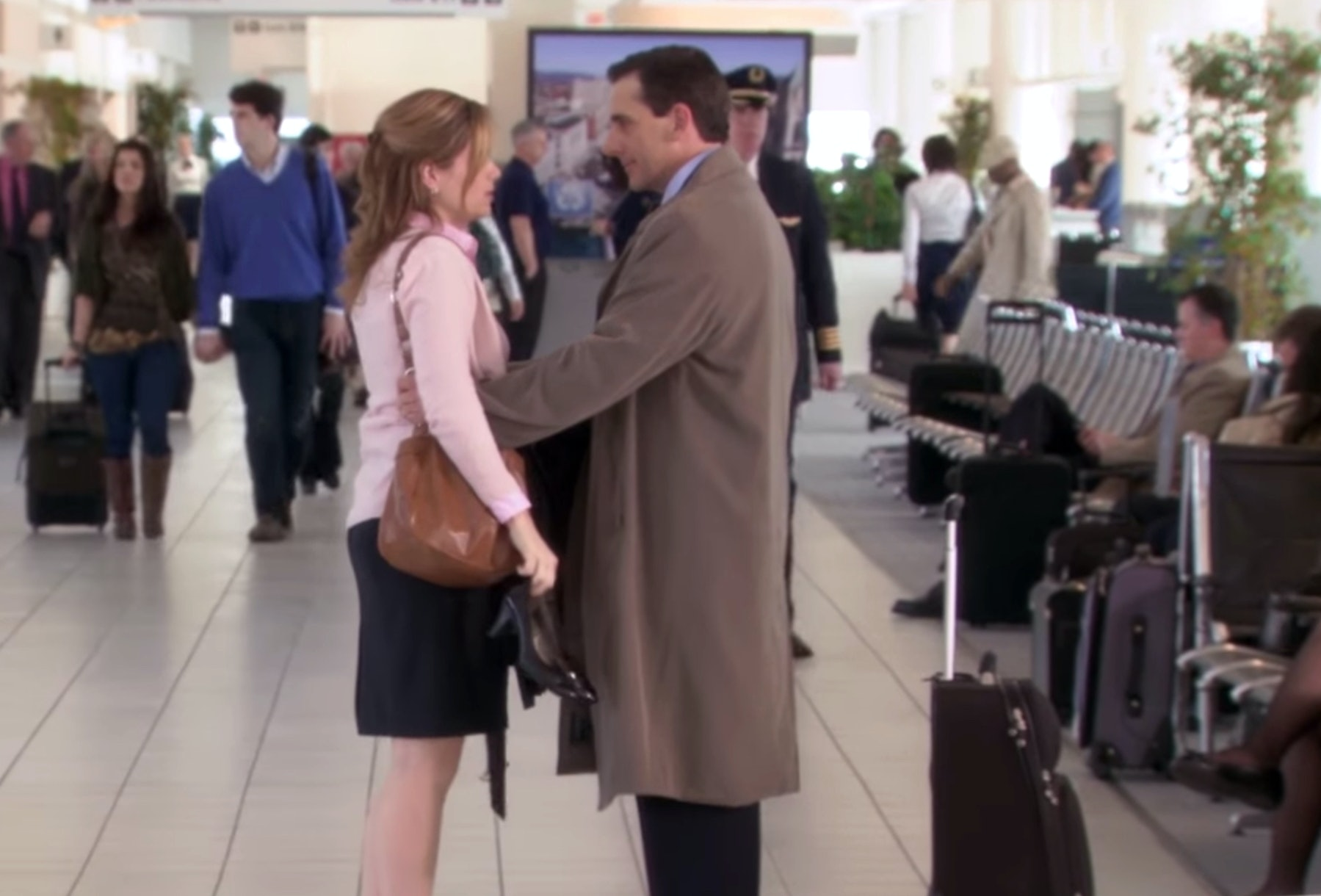 what did pam say to michael at the airport the office alum