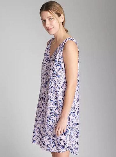 Sleeveless V-Neck Print Shift Dress