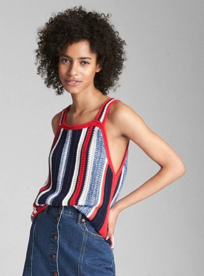 Crochet Mix-Stripe Tank Top