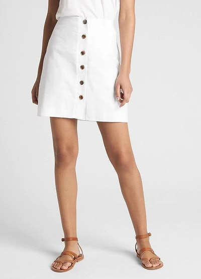 Button-Front Skirt in Linen-Cotton