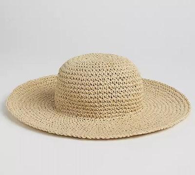 Floppy Straw Hat with Metallic Detail