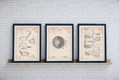 Patent Prints Golf Clubs Patent Posters Group of 3