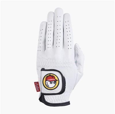 Malbon Golf Buckets Glove in White & Red