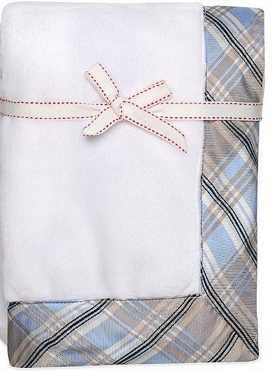 Blume Microvelour Plush Blanket with Blue Plaid Trim