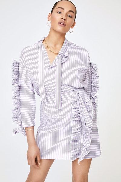 Lilac Ruffle Striped Shirt and Skirt