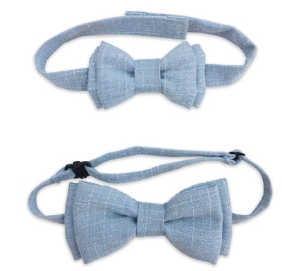 Daddy and Me Bowtie Set in Blue Chambray