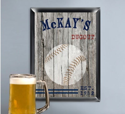 Personalized Traditional Man Cave Pub and Tavern Signs - Baseball