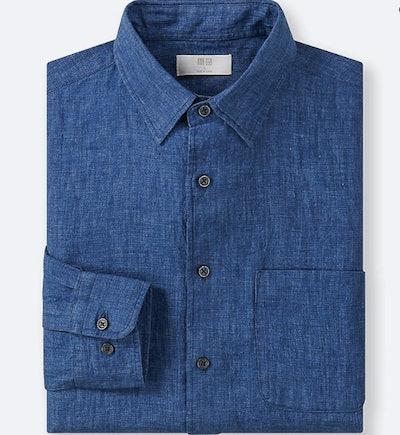 Linen long-sleeve button-down shirt