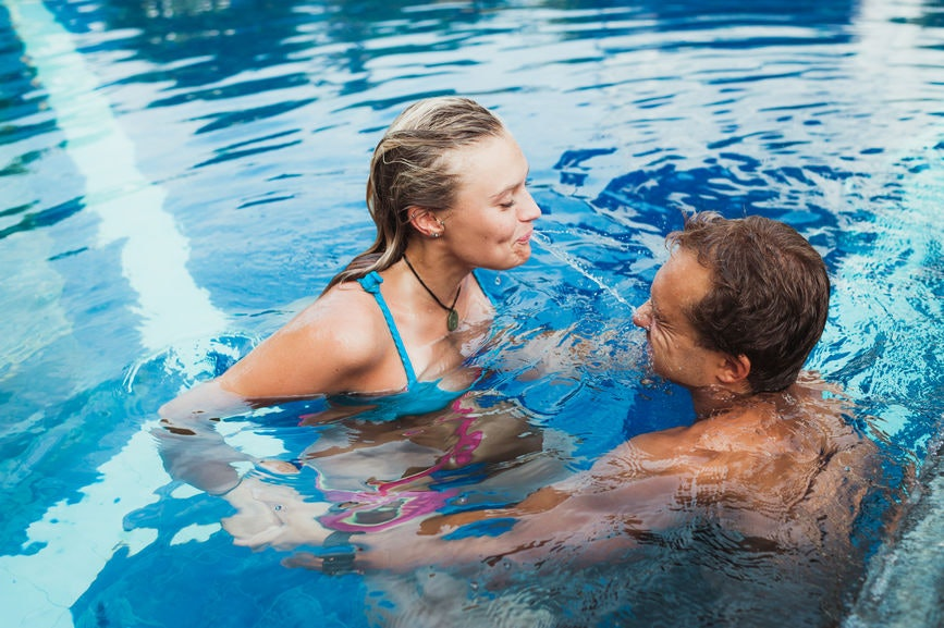 Girls having sex in the pool