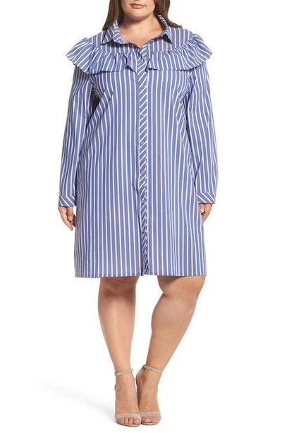 Ruffle Stripe Shirtdress