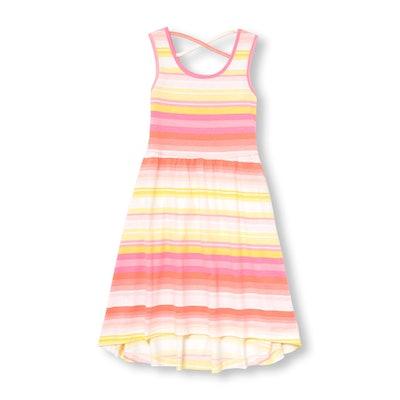 Girls Sleeveless Striped Knit Hi-Low Dress