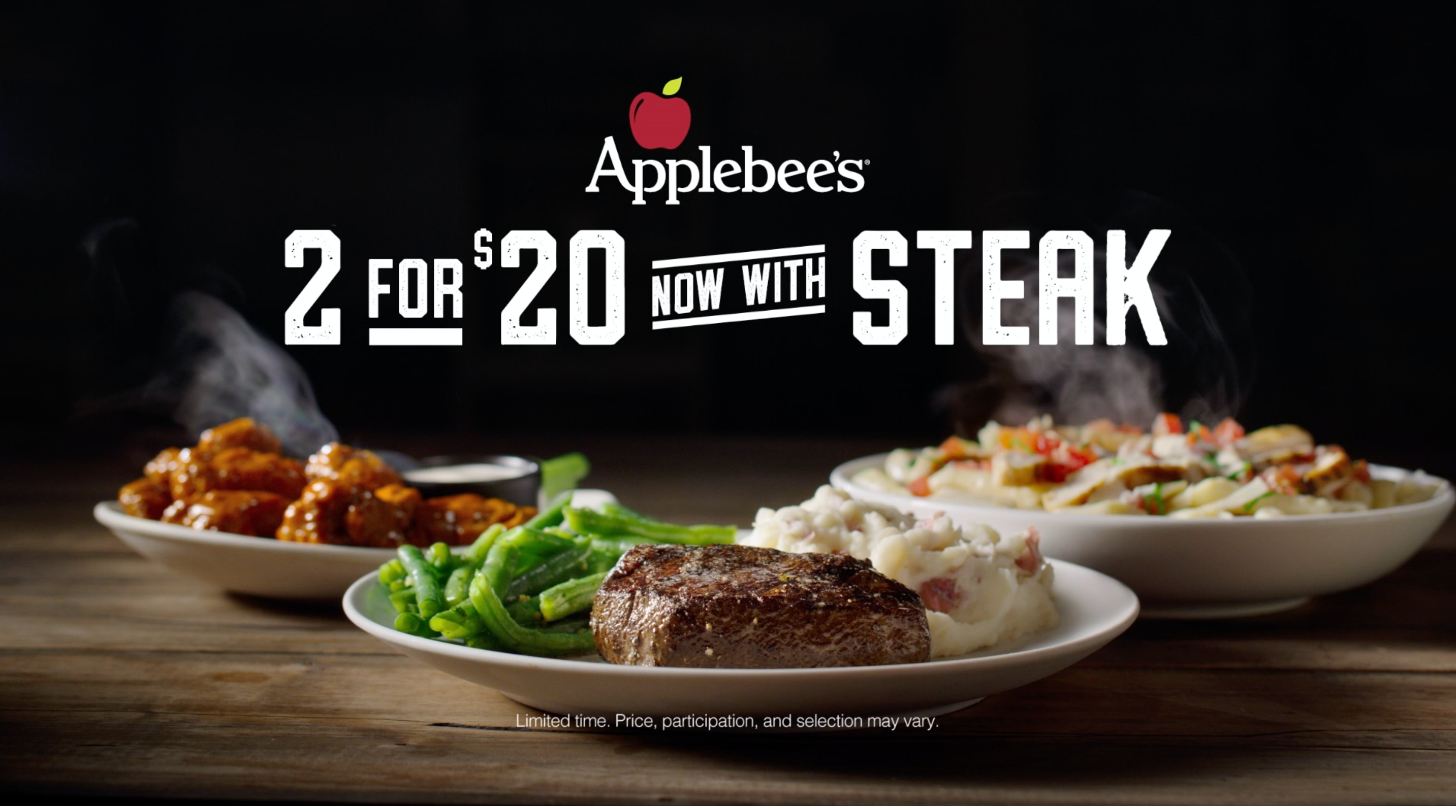 does applebee's 2 for $20 menu include steak? a special deal is coming