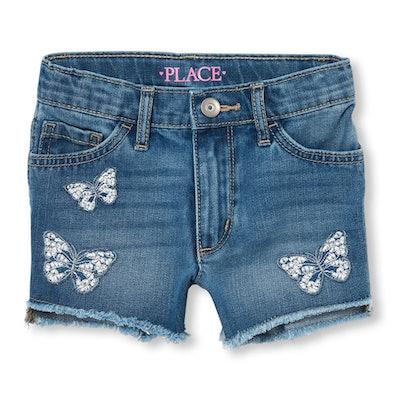 Girls Butterfly Embroidered High Waist Denim Shorts