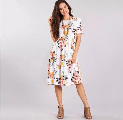 Floral Empire Waist Midi Dress