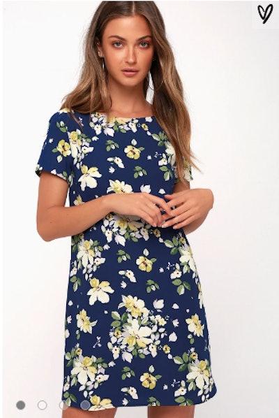 FLORIANA NAVY BLUE FLORAL PRINT SHIFT DRESS