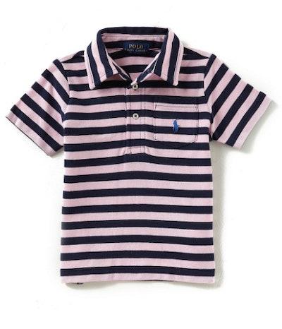Boys Short-Sleeve Striped Mesh Polo Shirt