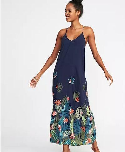 Sleeveless Floral Maxi Shift Dress